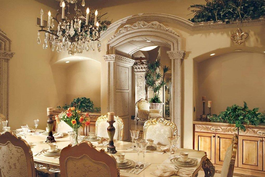 This gorgeous arch surround is majestic and elegant, creating a magnificent ambiance of luxury, in hand carved cantera stone.