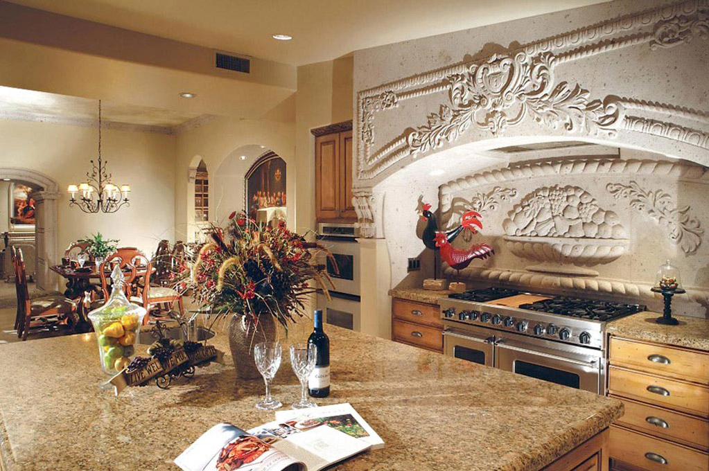 This magnificent, luxurious authentic range hood carved in cantera stone will give the principal focal point to your kitchen.