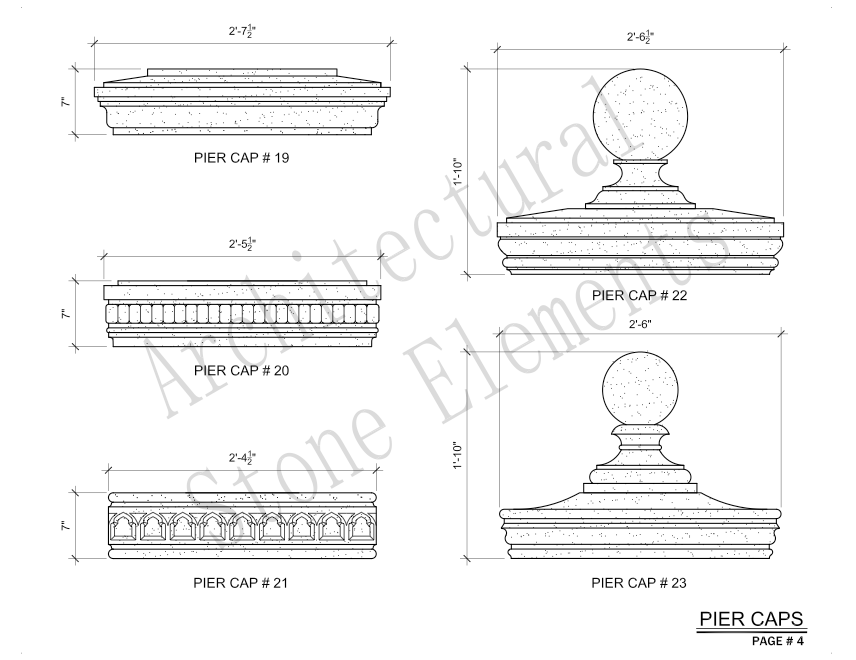 Architectural Stone Elements - Pier and Wall Caps 4