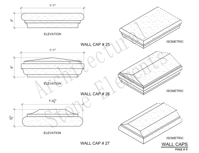 Architectural Stone Elements - Pier and Wall Caps 15
