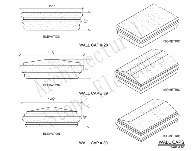 Architectural Stone Elements - Pier and Wall Caps 16